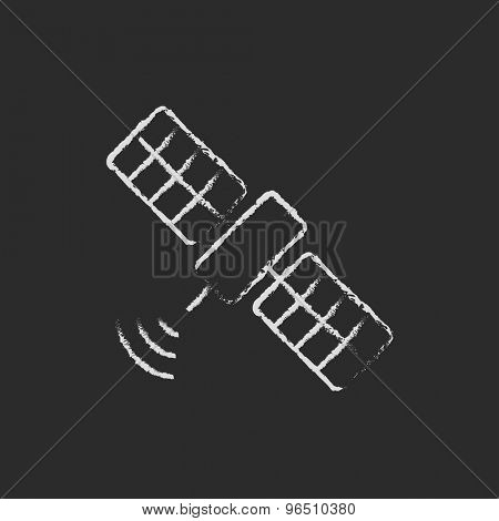 Satellite hand drawn in chalk on a blackboard vector white icon on a black background