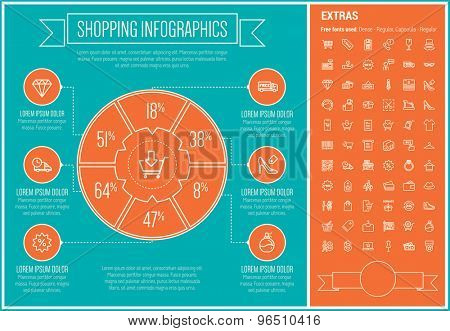 Shopping infographic template and elements. The template includes the following set of icons - cash register machine, QR code, barcode, hat, store stall, diamond and more. Modern minimalistic flat