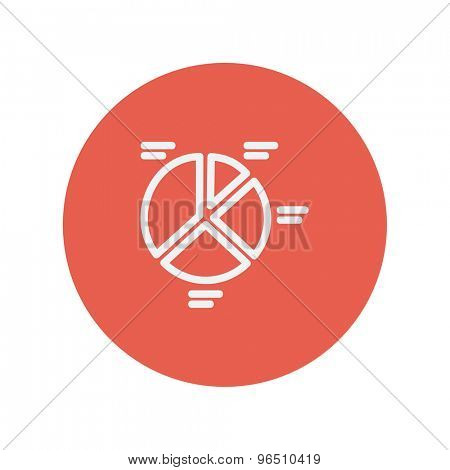 Pie chart thin line icon for web and mobile minimalistic flat design. Vector white icon inside the red circle.