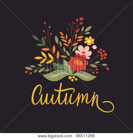 autumn card design on a dark background