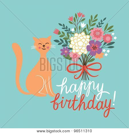 Birthday card design with cute cat