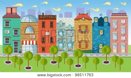 Color Vector Illustrations Urban Landscapes And Downtown