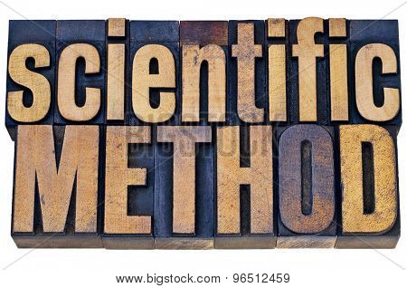 scientific method - science research concept - isolated  word abstract in grunge letterpress wood type blocks