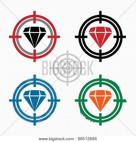 Diamond  Icon On Target Icons Background