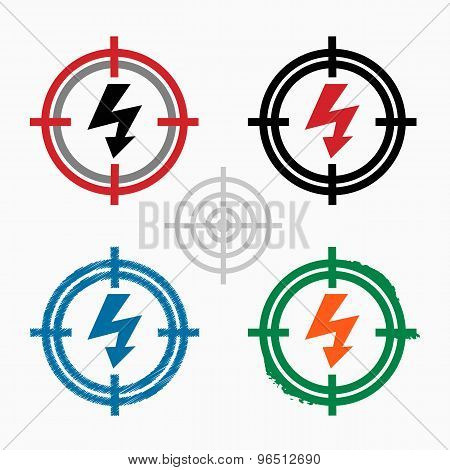 Lightning Icon On Target Icons Background