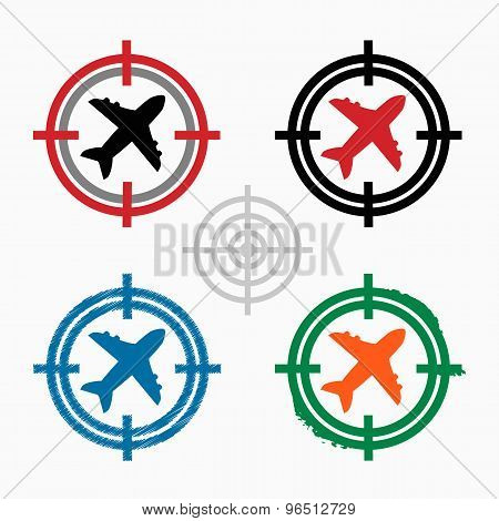 Airplane On Target Icons Background