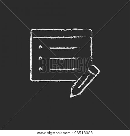 Notepad and pencil hand drawn in chalk on a blackboard vector white icon on a black background