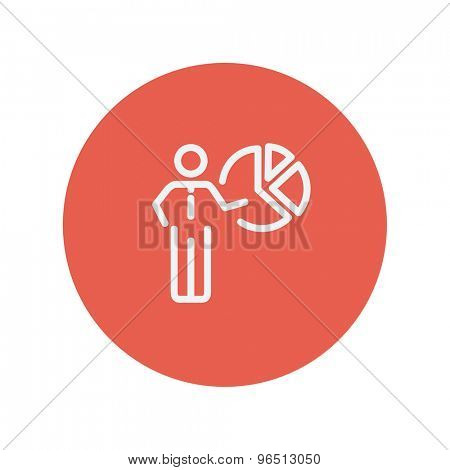 Businessman pointing at pie chart thin line icon for web and mobile minimalistic flat design. Vector white icon inside the red circle.