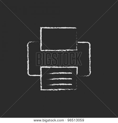Printer icon hand drawn in chalk on a blackboard vector white icon on a black background