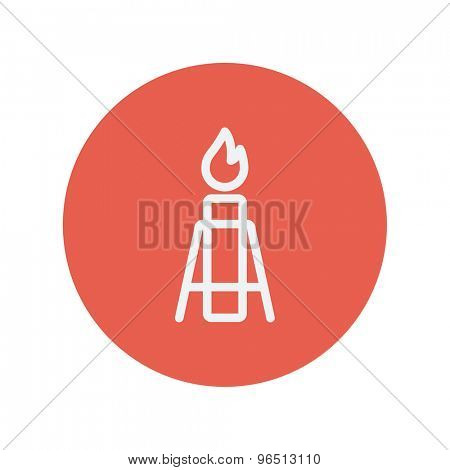 Candle with holder thin line icon for web and mobile minimalistic flat design. Vector white icon inside the red circle.