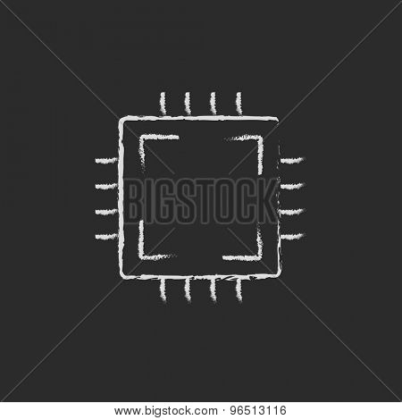 Circuit board hand drawn in chalk on a blackboard vector white icon on a black background