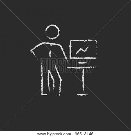 Business presentation hand drawn in chalk on a blackboard vector white icon on a black background