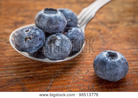 fresh blueberries on a tablespoon against rustic wood