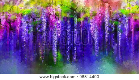 Spring purple flowers Wisteria. Watercolor painting.