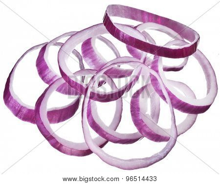 Onion rings isolated on a white background.