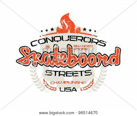 Skateboard Emblem  For T-shirt