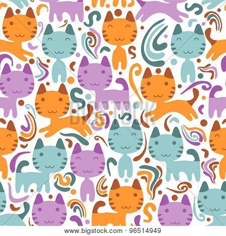Seamless Pattern With Cute Little Kittens
