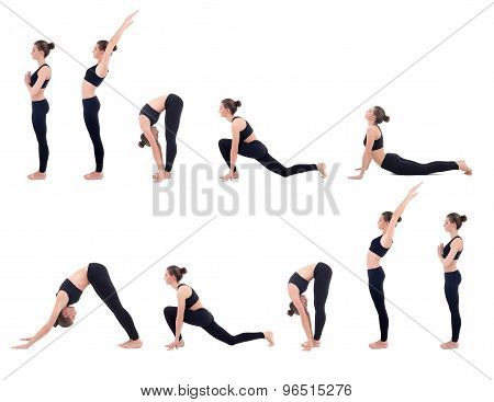 Beautiful Slim Woman In Yoga Sun Salutation Sequence Poses Isolated On White