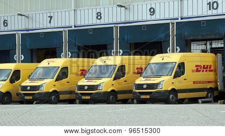 Dhl Vans Befor A Loading Dock