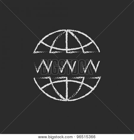 Globe with website design hand drawn in chalk on a blackboard vector white icon on a black background