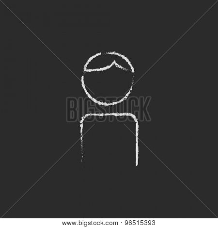 Man hand drawn in chalk on a blackboard vector white icon on a black background