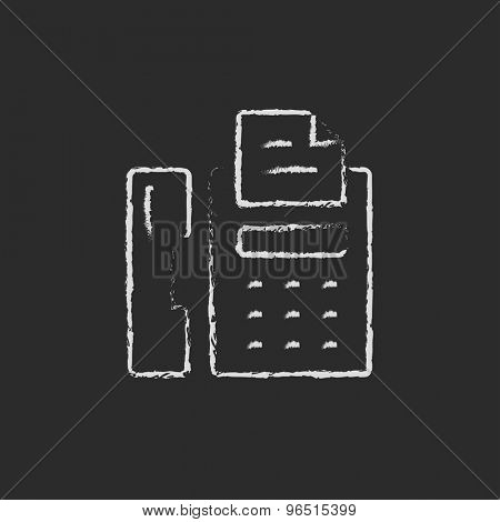 Fax machine hand drawn in chalk on a blackboard vector white icon on a black background
