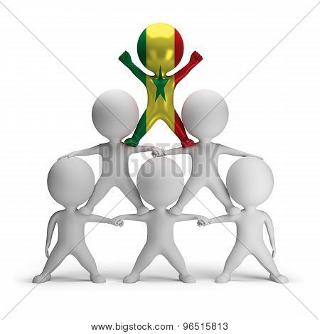 3d small people standing on each other in the form of a pyramid with the top leader Senegal