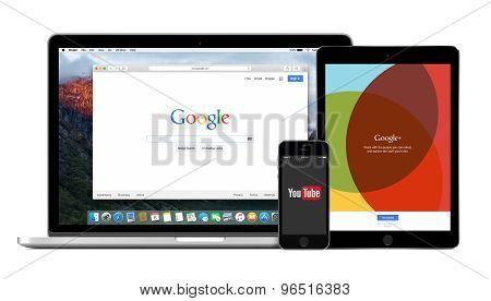 Google Products Multi Devices Set With Google Search Youtube And Google Plus
