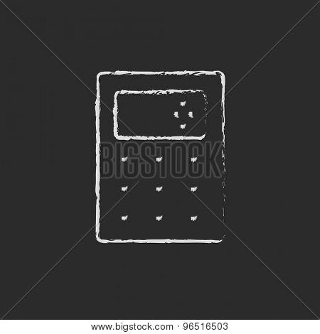 Calculator hand drawn in chalk on a blackboard vector white icon on a black background