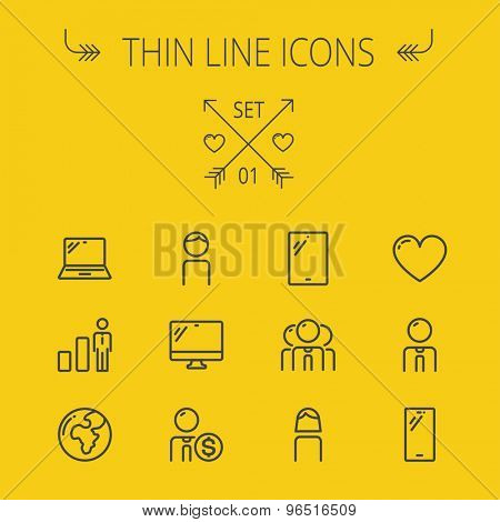 Technology thin line icon set for web and mobile. Set includes - laptop, monitor,video global, smartphone, heart. Modern minimalistic flat design. Vector dark grey icon on yellow background