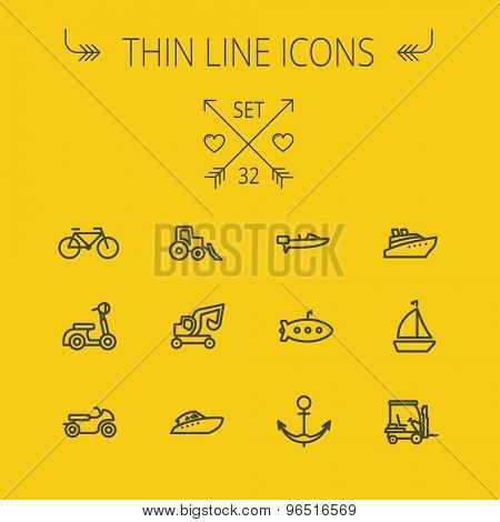 Transportation thin line icon set for web and mobile. Set includes- golf cart, trucks, motor, boat, submarine, anchor, scooter icons. Modern minimalistic flat design. Vector dark grey icon on yellow