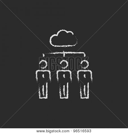 Three businessmen under the cloud hand drawn in chalk on a blackboard vector white icon on a black background
