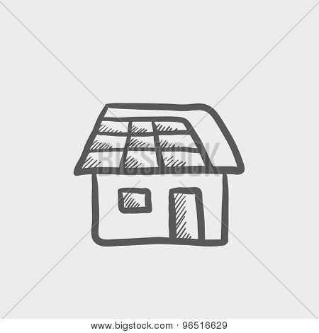 House sketch icon for web and mobile. Hand drawn vector dark grey icon on light grey background.