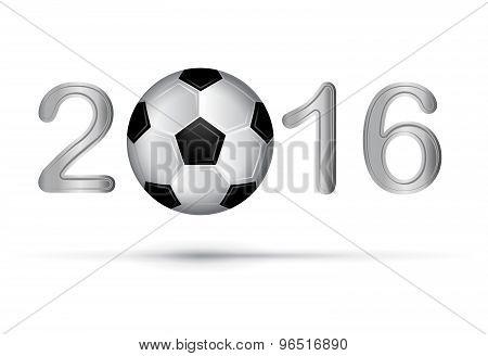 Soccer Ball In 2016 Digit On White