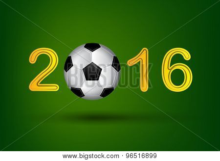 Soccer Ball In 2016 Digit On Green Background