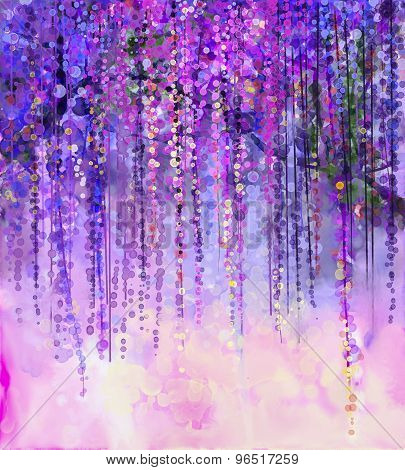 Spring Purple Flowers Wisteria.watercolor Painting