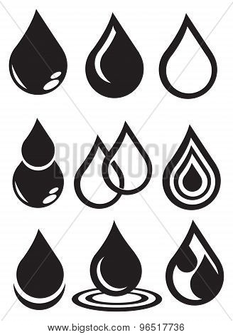 Black And White Water Icon Vector Design