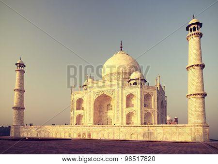 Vintage Retro Toned Sunrise Over Taj Mahal, India.
