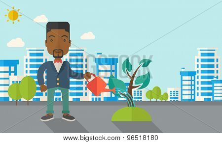 A black guy watering the growing plant as improving economy. A Contemporary style with pastel palette, soft blue tinted background with desaturated clouds. Vector flat design illustration. Horizontal