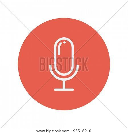 Retro microphone thin line icon for web and mobile minimalistic flat design. Vector white icon inside the red circle.