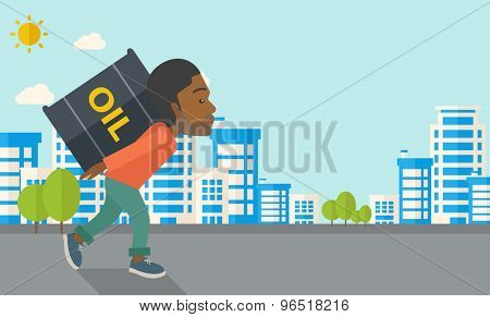 A black businessman walking while carrying a heavy barrel of oil for delivery. A Contemporary style with pastel palette, soft blue tinted background with desaturated clouds. Vector flat design