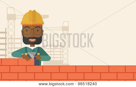 A smiling black builder wearing a hard hat buiding a brick wall. A Contemporary style with pastel palette, soft beige tinted background. Vector flat design illustration. Horizontal layout with text