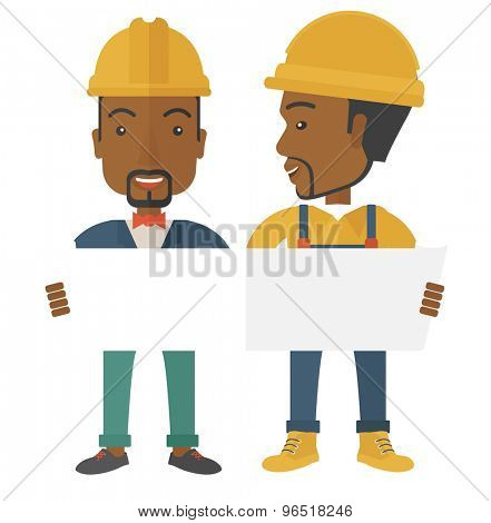 A two young black architects wearing protection helmets looing at blueprint.  A Contemporary style. Vector flat design illustration isolated white background. Square layout.