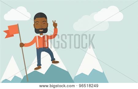 A happy black businessman standing on the top of a mountain with snow holding a red flag. Cheerful, winner and leader concept. A Contemporary style with pastel palette, soft blue tinted background