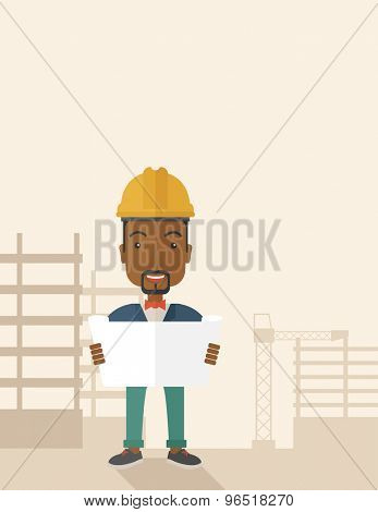 A young african-american engineer holding while reviewing the construction plan. A Contemporary style with pastel palette, soft beige tinted background. Vector flat design illustration. Vertical