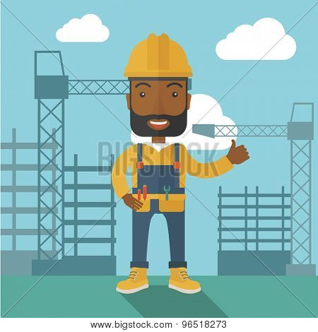 A black construction worker standing with crane tower background. A Contemporary style with pastel palette, soft blue tinted background with desaturated clouds. Vector flat design illustration. Square
