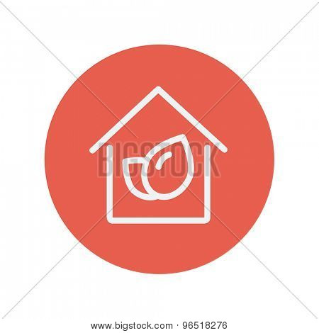 Leaf house thin line icon for web and mobile minimalistic flat design. Vector white icon inside the red circle.