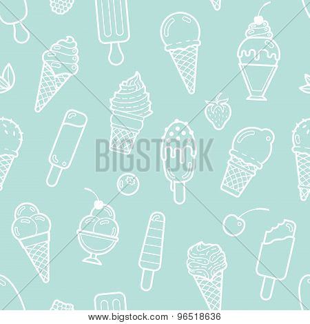 Vector cute mint seamless pattern with ice creams