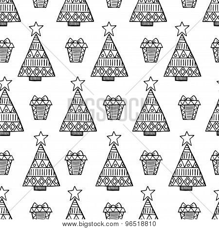 Christmas Tree And  Gift Vector Seamless Pattern