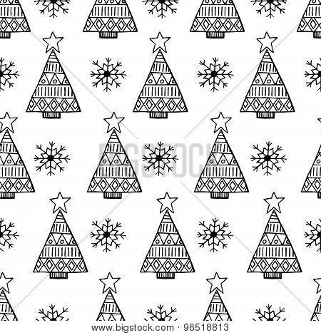 Christmas Tree And Snowflake Vector Seamless Pattern